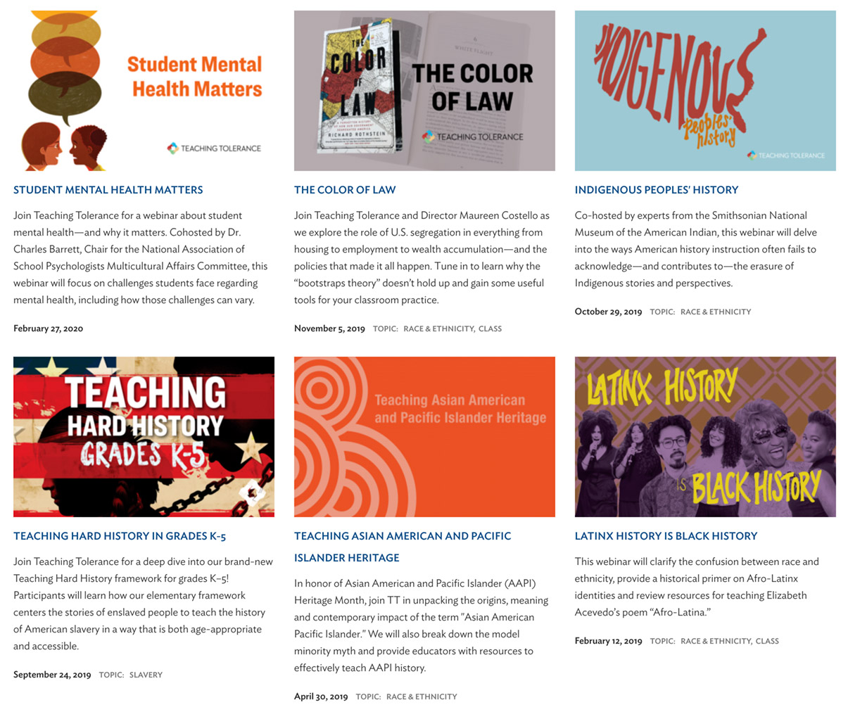 Learning for Justice Webinars