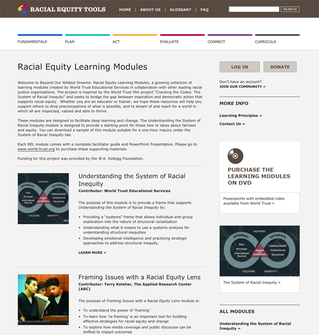 Racial Equity Tools' Racial Equity Learning Modules