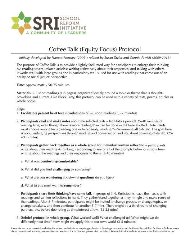 Coffee Talk (Equity Focus) Protocol