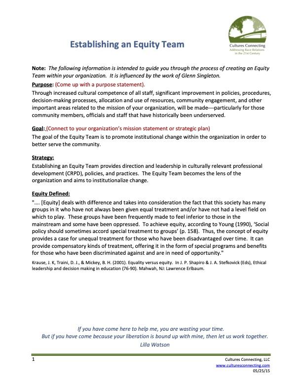 Establishing an Equity Team