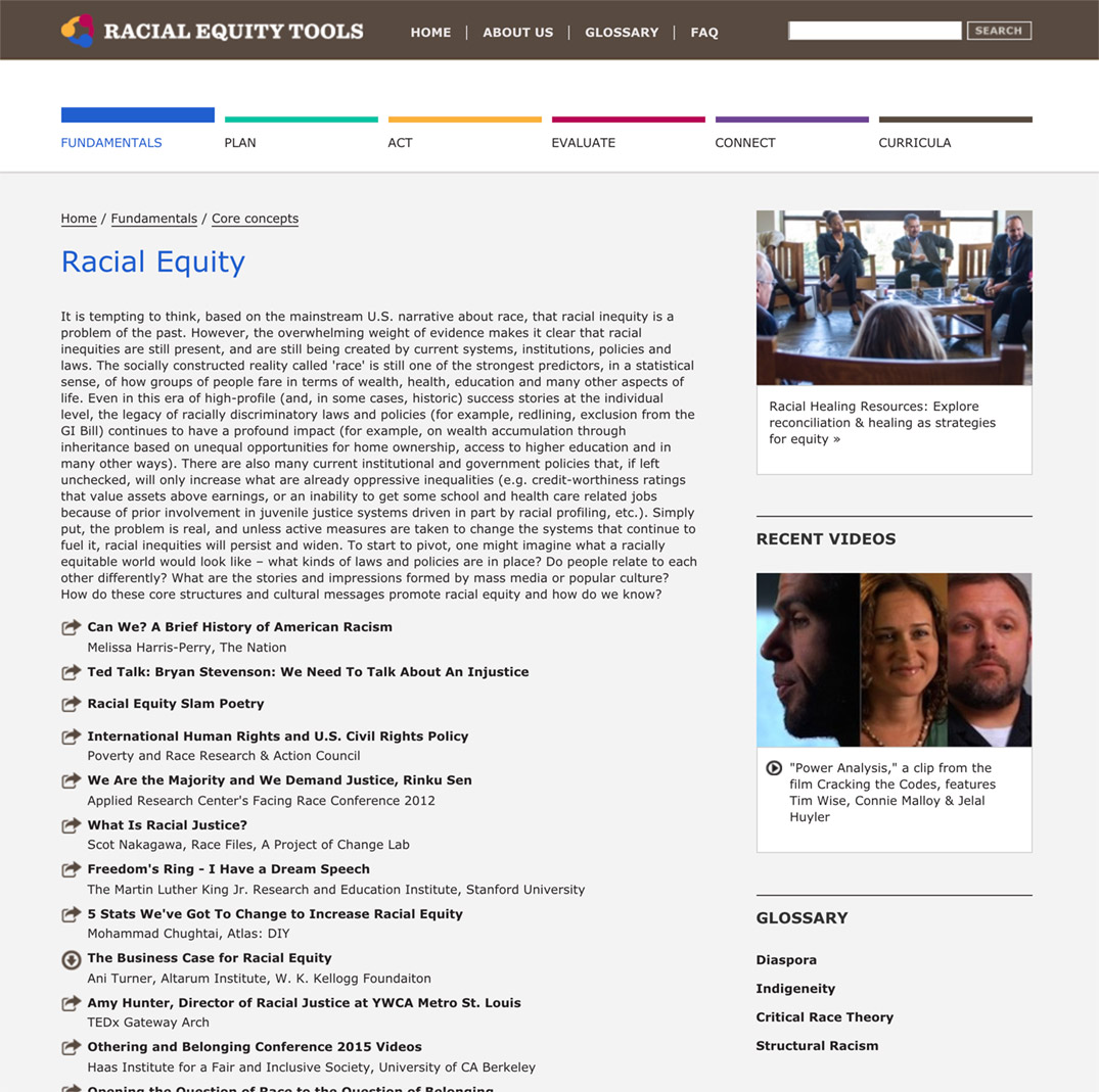 Racial Equity Tools' Racial Equity Section