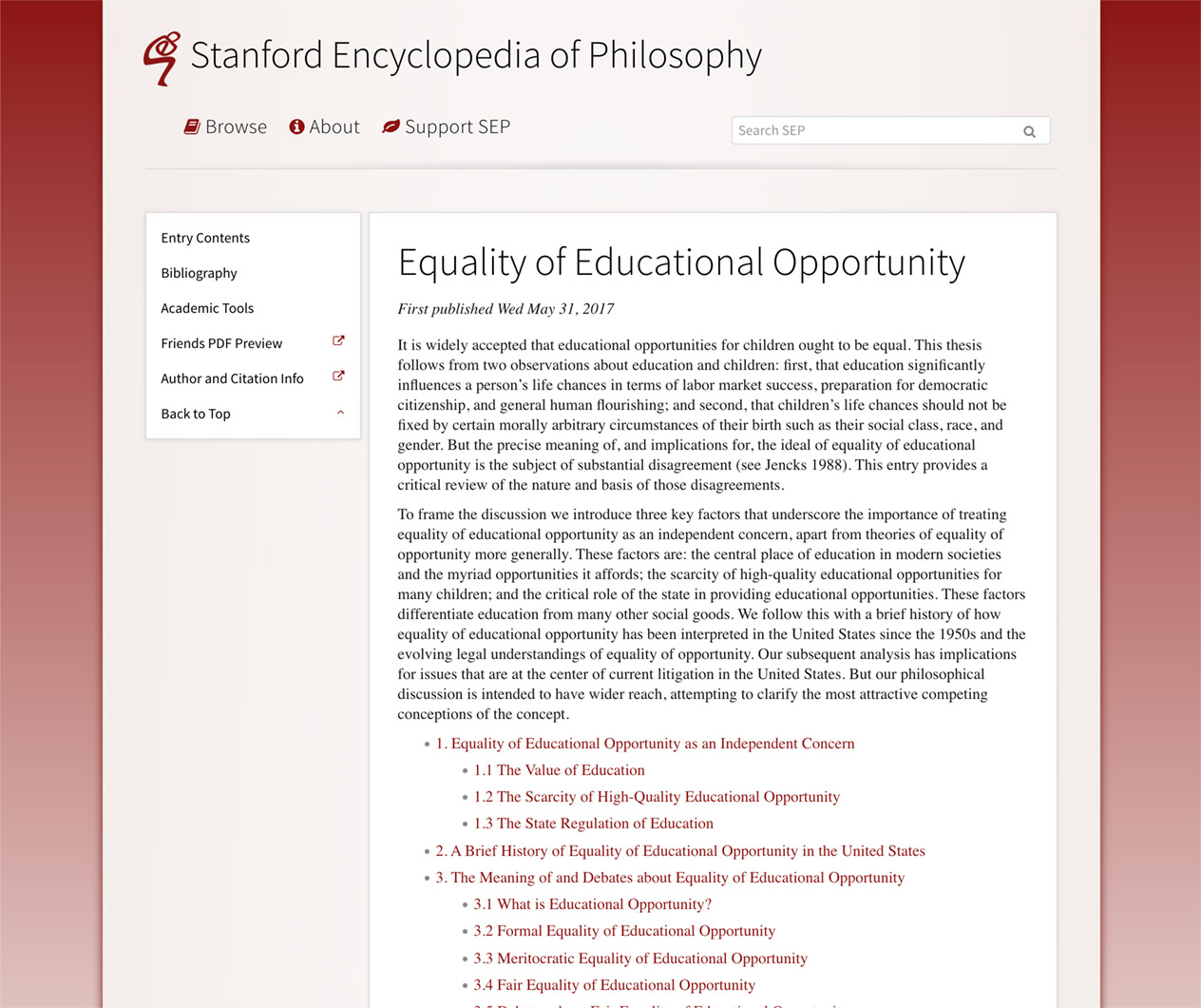 Equality of Educational Opportunity
