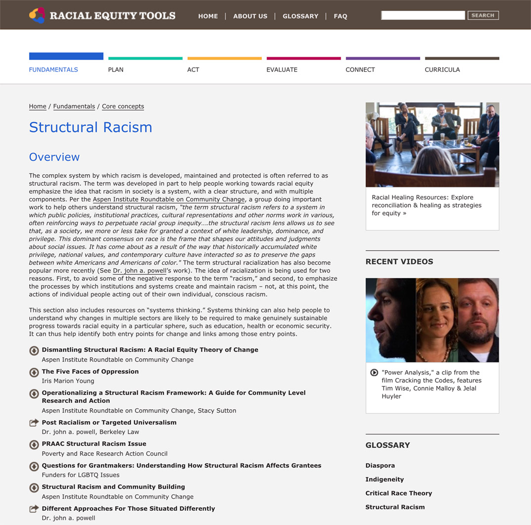 Racial Equity Tools' Structural Racism Section