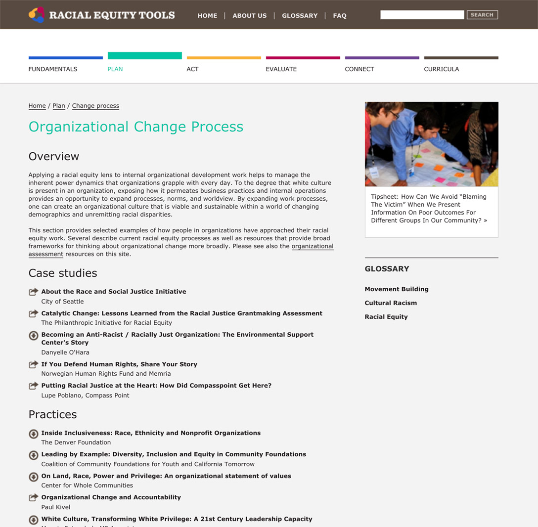 Racial Equity Tools' Organizational Change Process Section