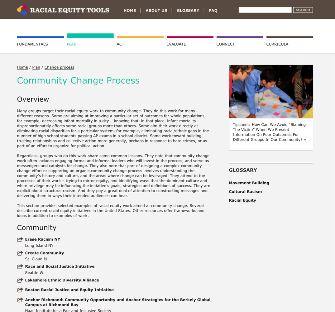 Racial Equity Tools' Community Change Process Section