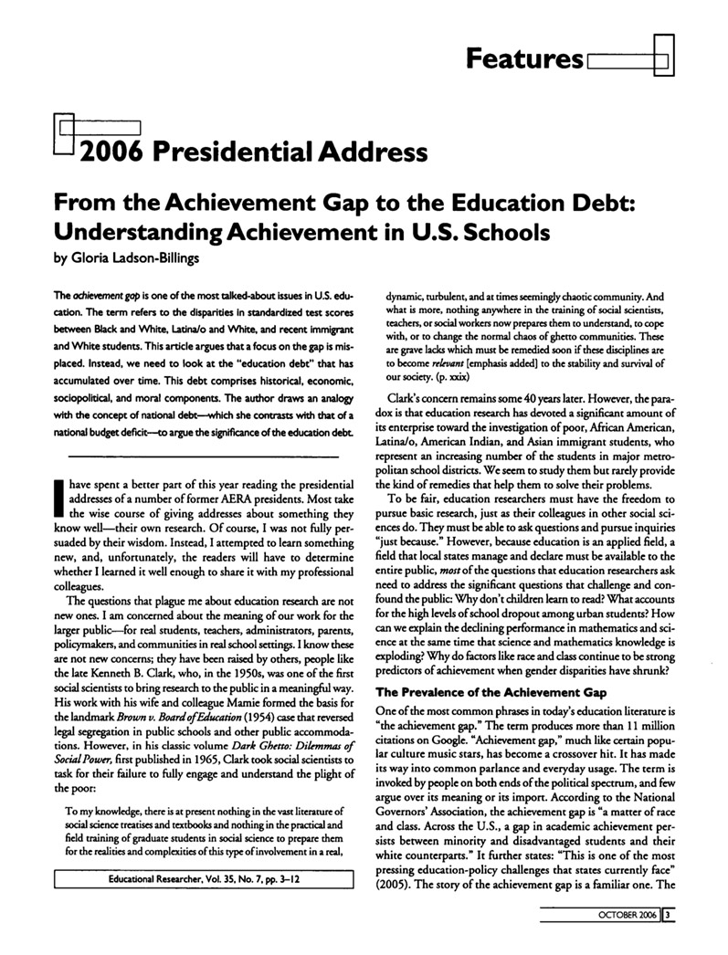 From the Achievement Gap to the Education Debt