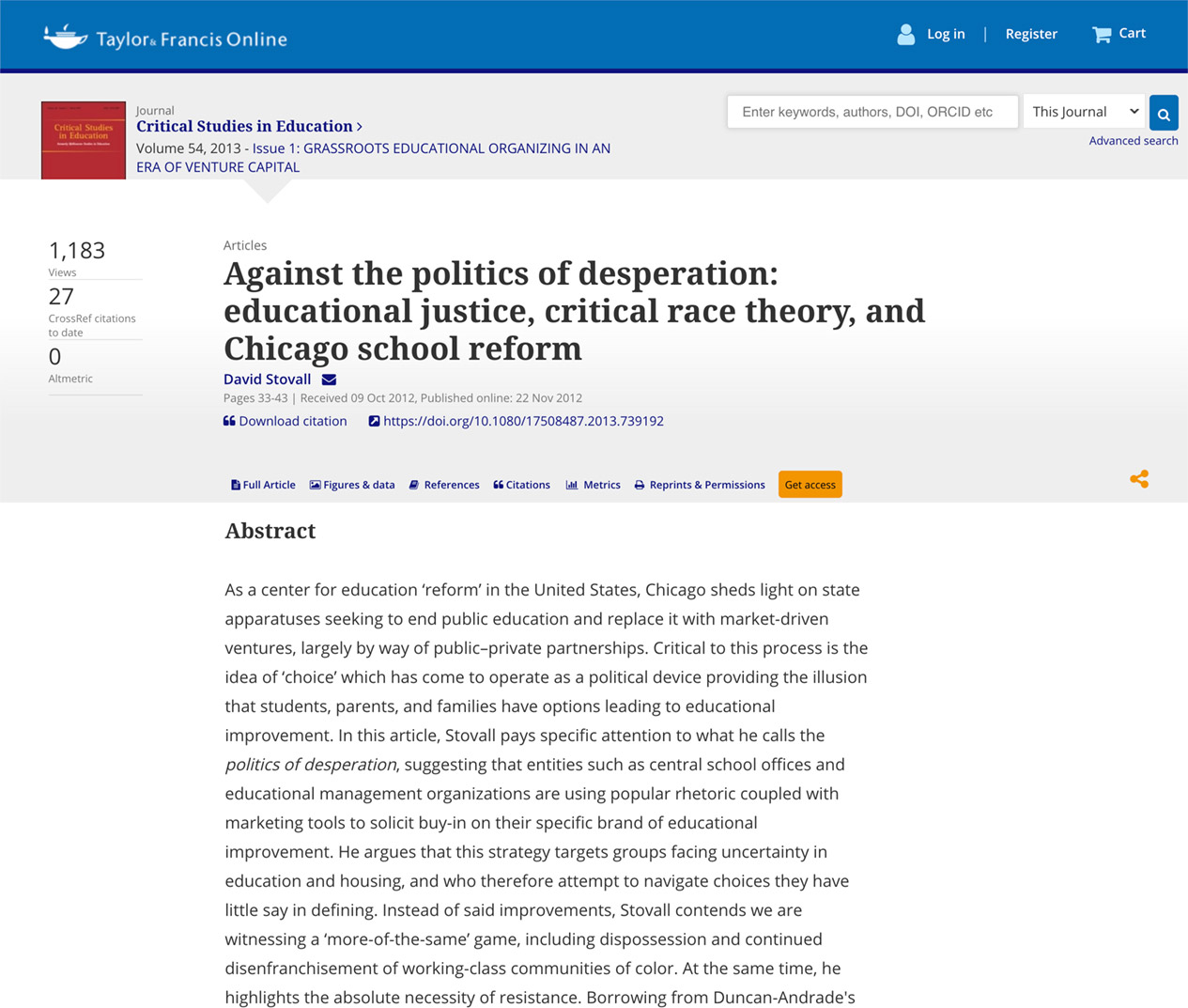 Against the politics of desperation: educational justice, critical race theory, and Chicago school reform