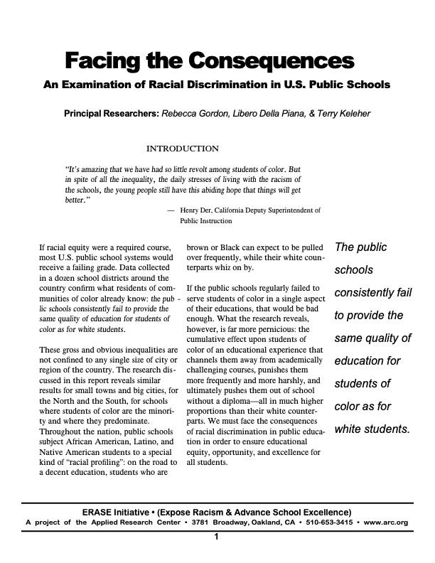 Facing the Consequences: An Examination of Racial Discrimination in U.S. Public Schools