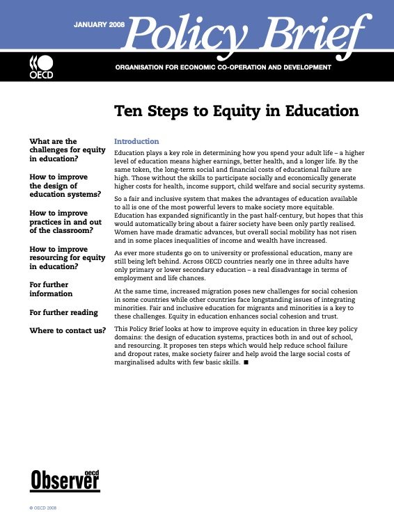 Ten Steps to Equity in Education