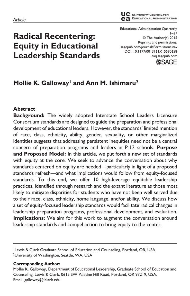 Radical Recentering: Equity in Educational Leadership Standards
