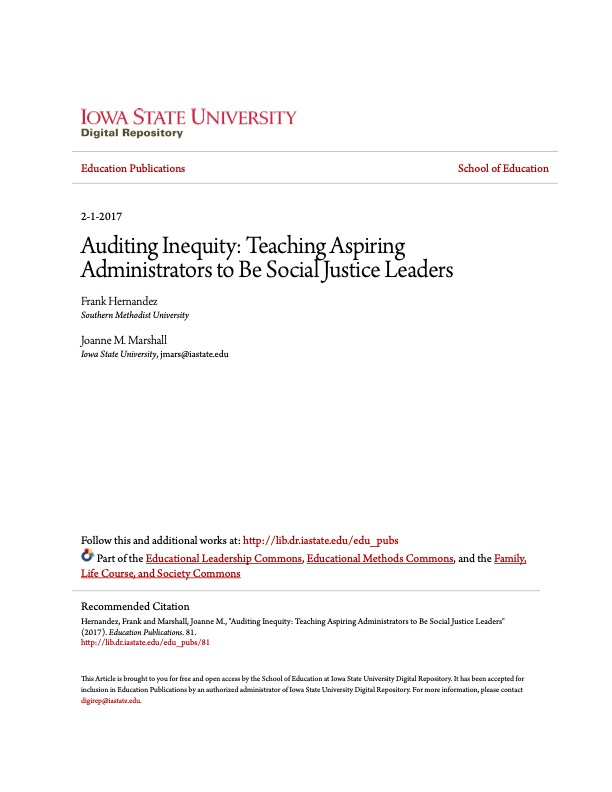 Auditing Inequity: Teaching Aspiring Administrators to Be Social Justice Leaders