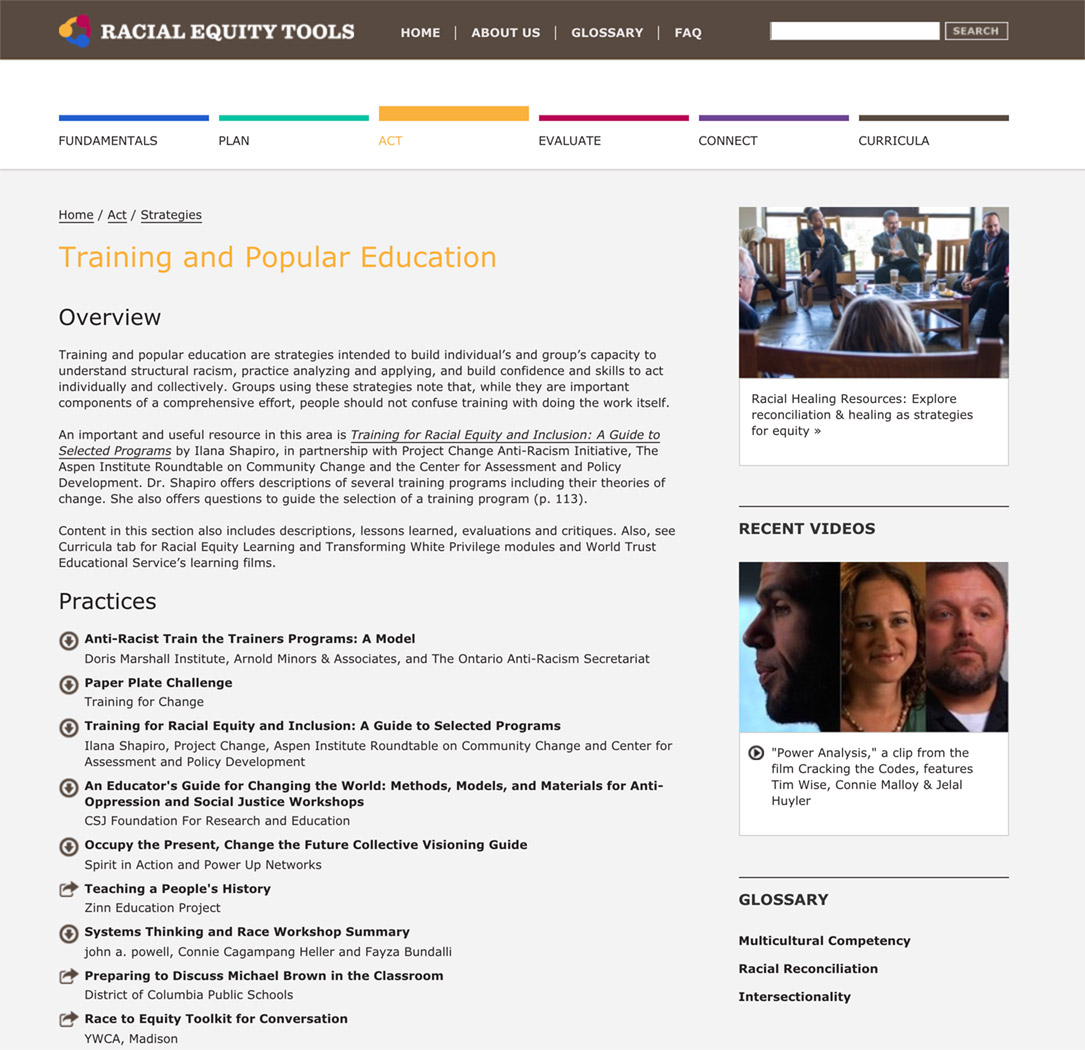 Racial Equity Tools' Training and Popular Education Section