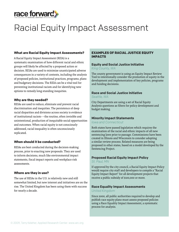 Racial Equity Impact Assessment