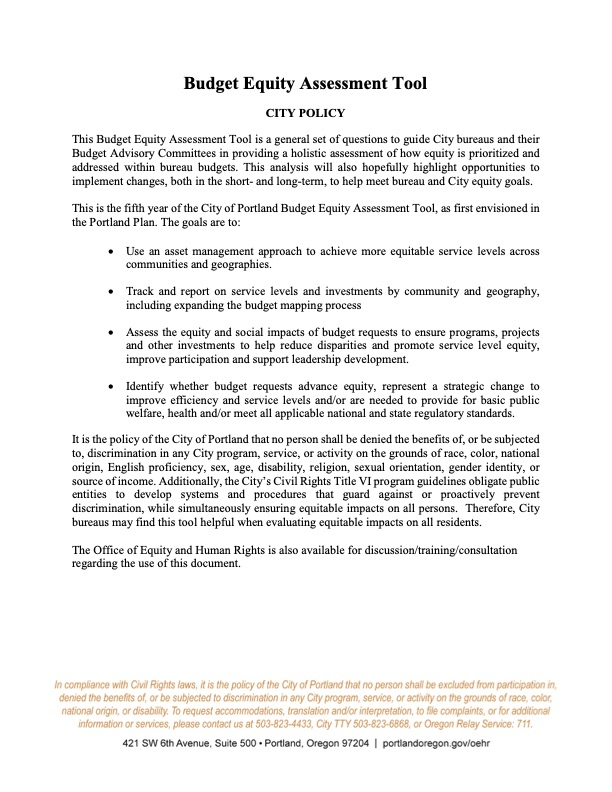Portland Budget Equity Assessment Tool