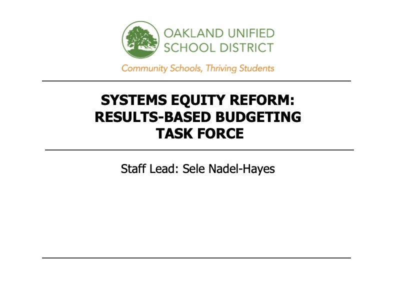 Systems Equity Reform: Results-Based Budgeting Task Force