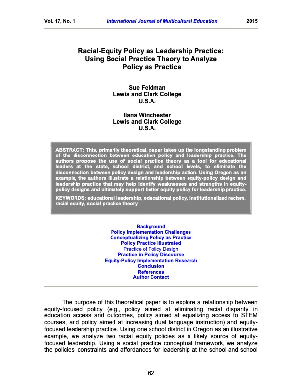 Racial-Equity Policy as Leadership Practice: Using Social Practice Theory to Analyze Policy as Practice