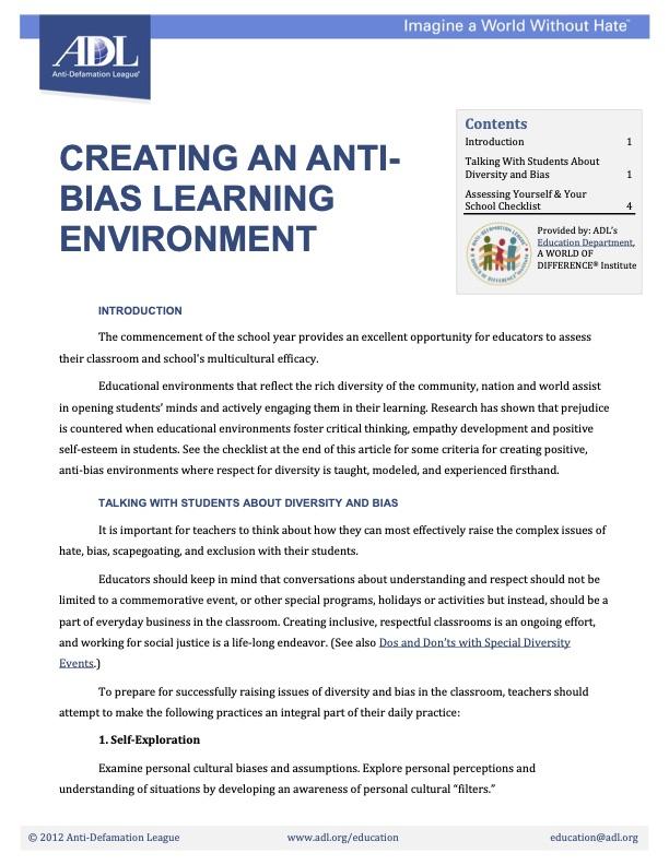 Creating an Anti Bias School Environment