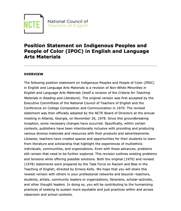 Position Statement on Indigenous Peoples and People of Color (IPOC) in English and Language Arts Materials