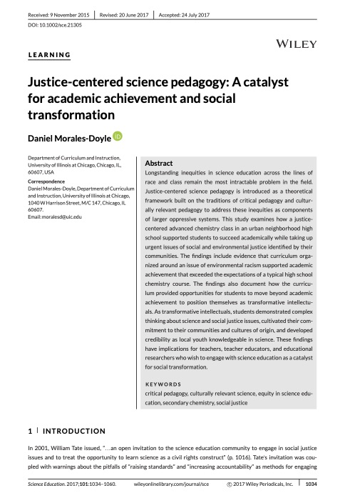 Justice-centered science pedagogy: A catalyst for academic achievement and social transformation