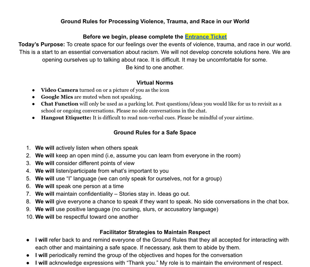Ground Rules for Processing Violence, Trauma, and Race in our World