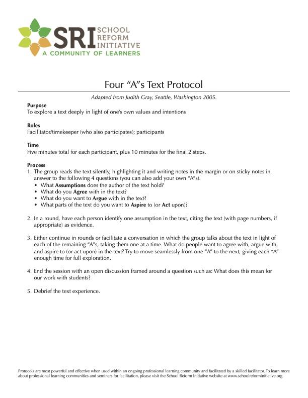 Four A's Text Protocol