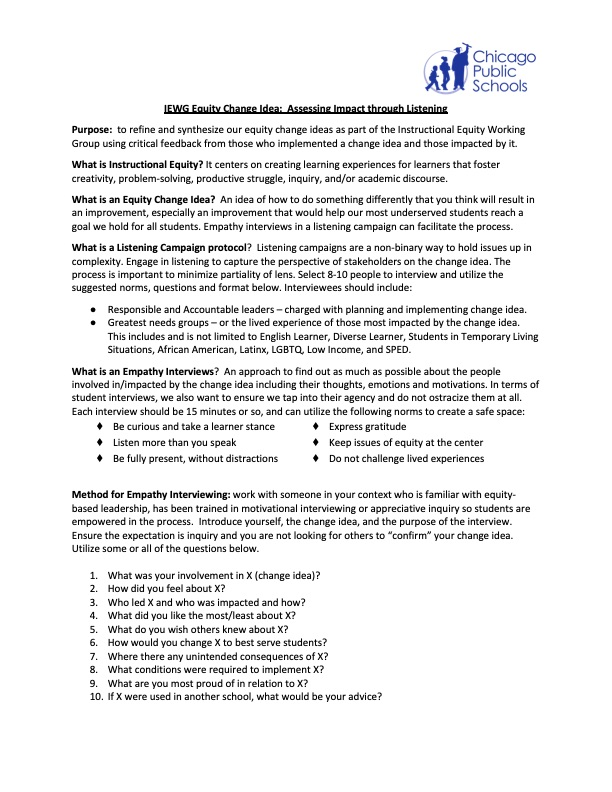 IEWG Equity Change Idea: Assessing Impact through Listening