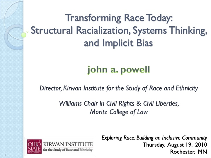 Transforming Race today: Structural Racialization, Systems Thinking, and Implicit Bias