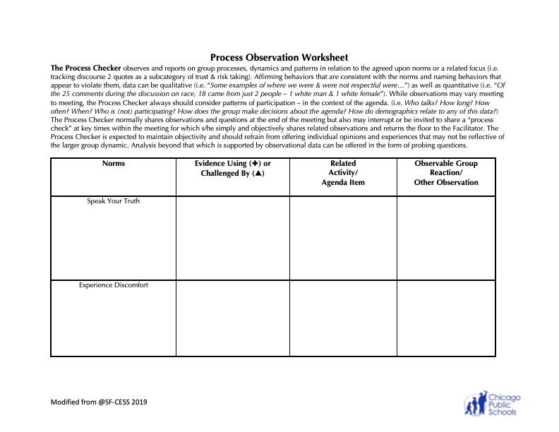 Process Observation Worksheet