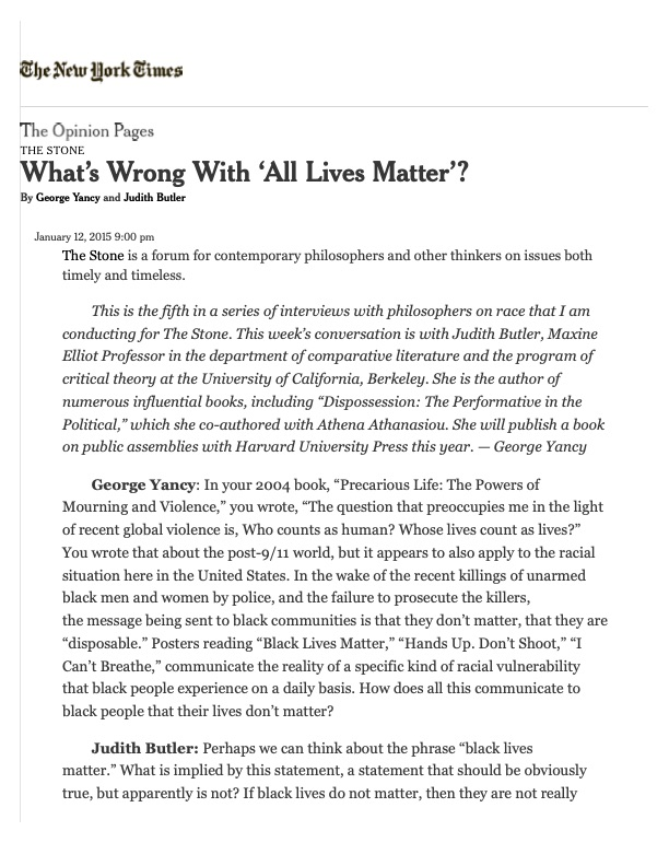 What's Wrong With 'All Lives Matter'?