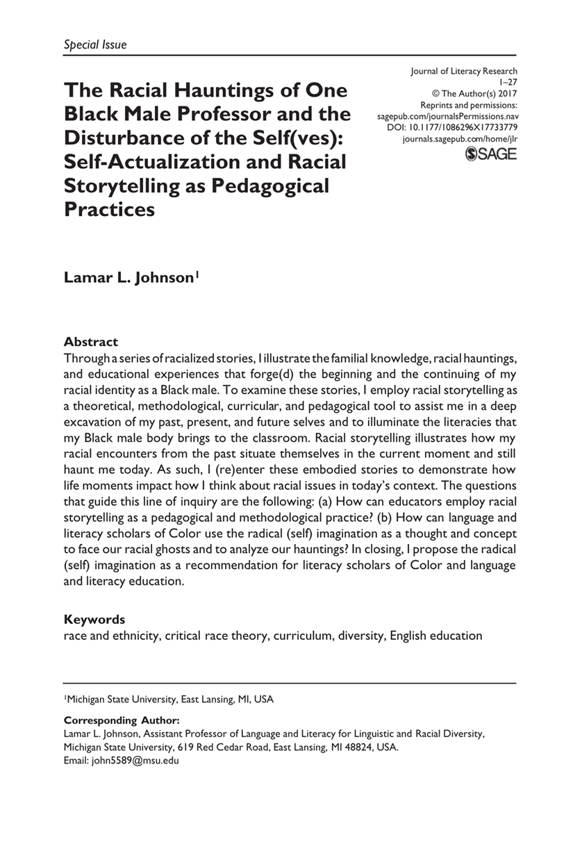 The Racial Hauntings of One Black Male Professor and the Disturbance of the Self(ves): Self-Actualization and Racial Storytelling as Pedagogical Practices