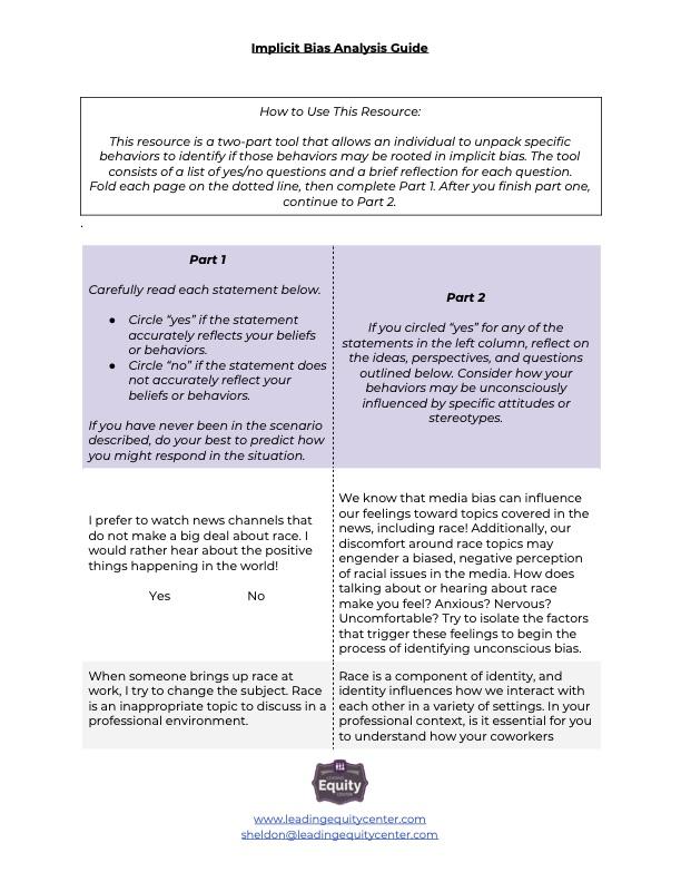 Implicit Bias Analysis Guide