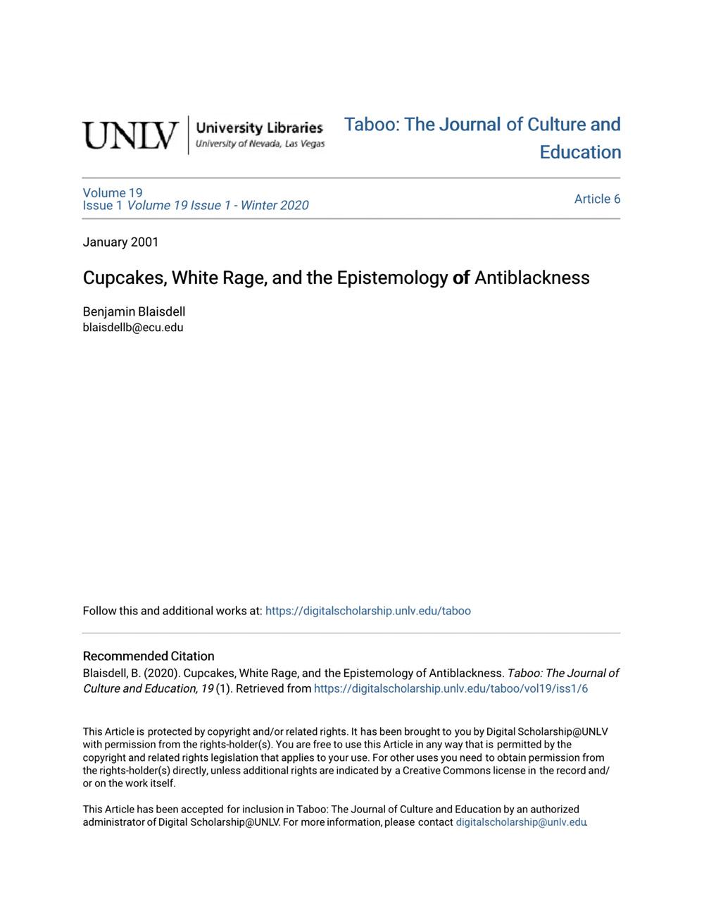 Cupcakes, White Rage, and the Epistemology of Antiblackness