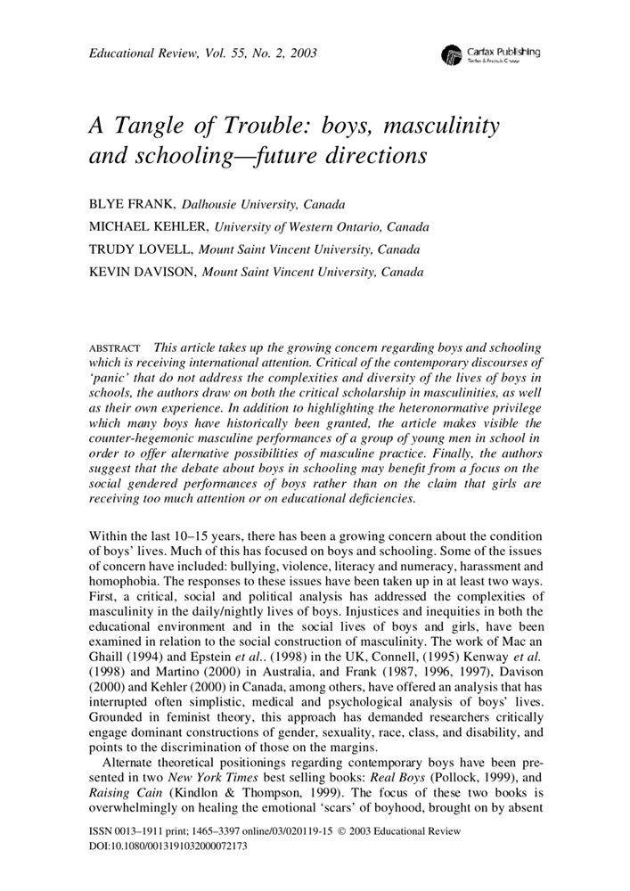 A Tangle of Trouble: boys, masculinityand schooling—future directions
