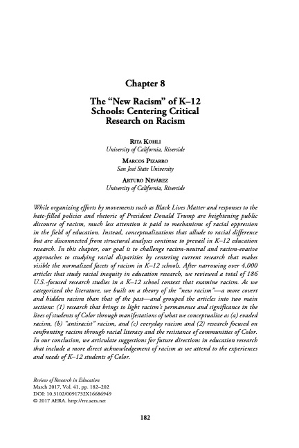 """The """"New Racism"""" of K–12 Schools: Centering Critical Research on Racism"""
