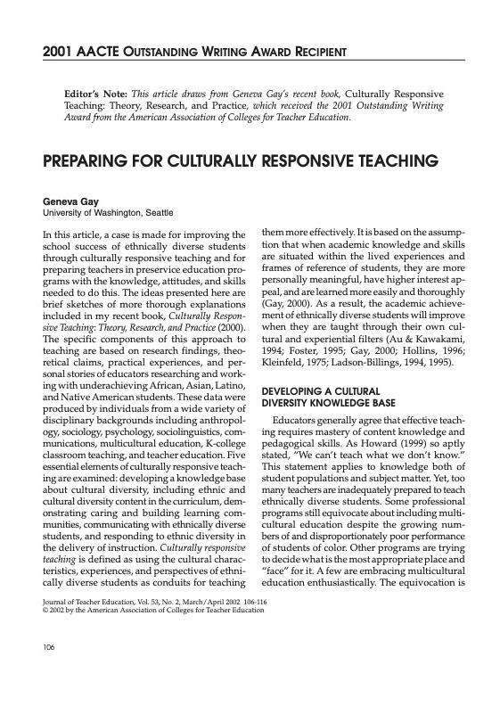 Preparing for Culturally Responsive Teaching