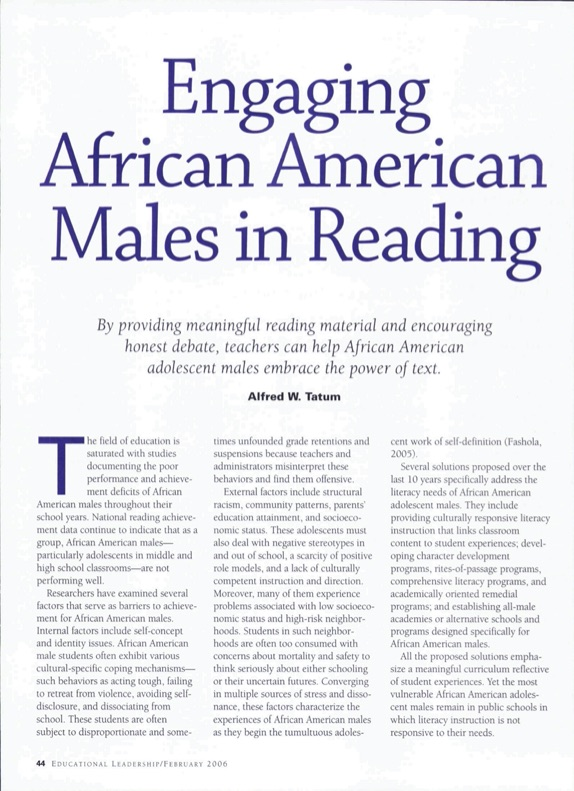 Engaging African American Males in Reading