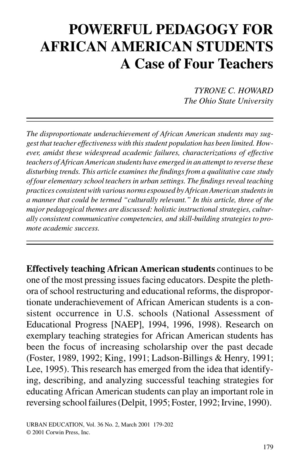 Powerful Pedagogy for African American Students