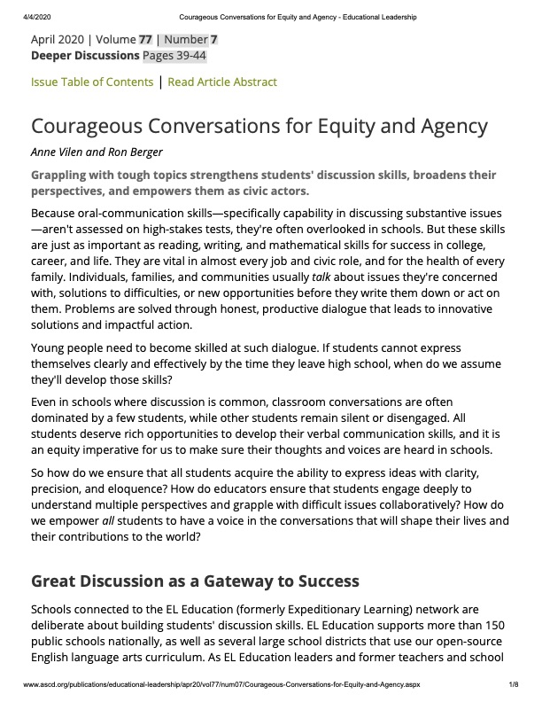 Courageous Conversations for Equity and Agency