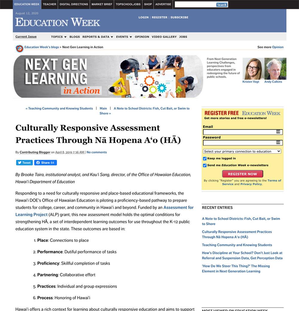 Culturally Responsive Assessment Practices Through Nā Hopena Aʻo (HĀ)