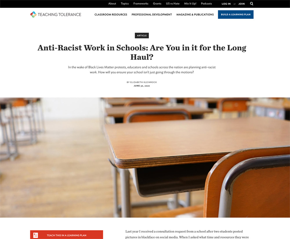 Anti-Racist Work in Schools: Are You in it for the Long Haul?