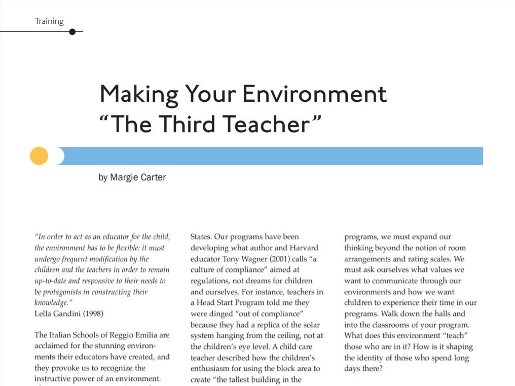 "Making Your Environment ""The Third Teacher"""