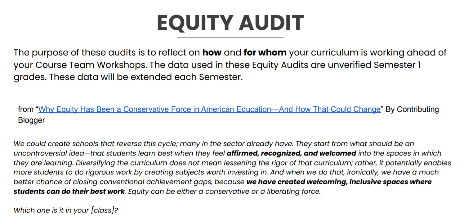 Equity Audit Protocol