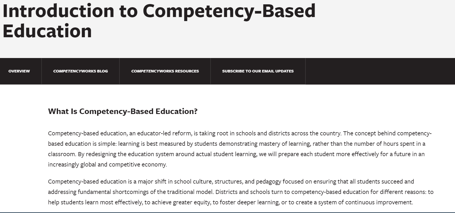 Introduction to Competency-Based Education