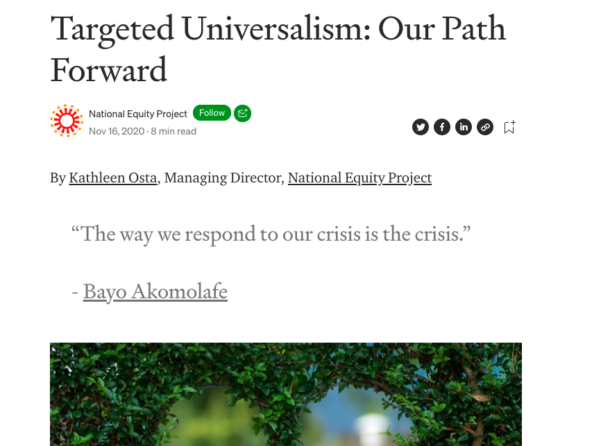 Targeted Universalism: Our Path Forward