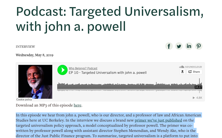 Podcast: Targeted Universalism