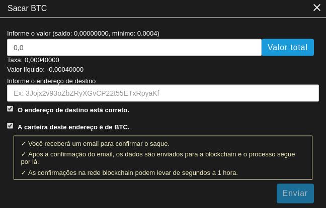 Editando informações para saque de criptomoeda na Coinext