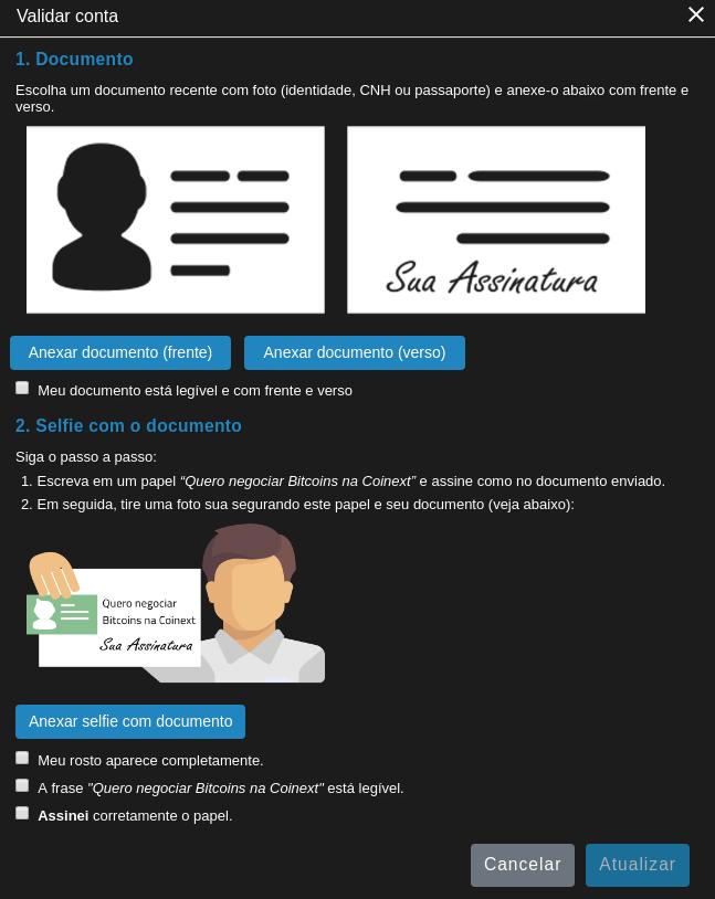 Documentos pessoais para conta Coinext