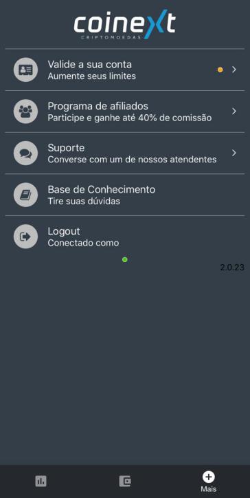 Menu aplicativo Coinext - como validar conta