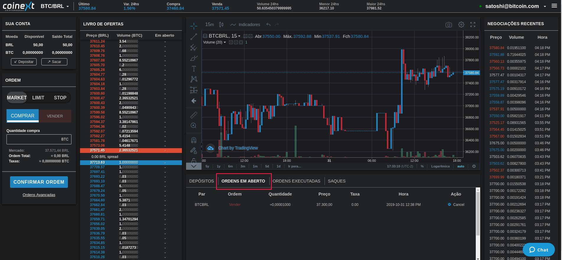 Interface plataforma Coinext - ordens em aberto