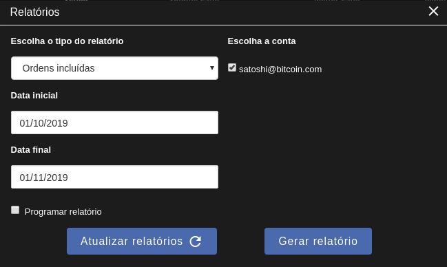 Interface plataforma Coinext - gerando relatórios